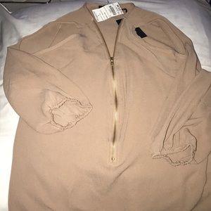Cold shoulder zip front top
